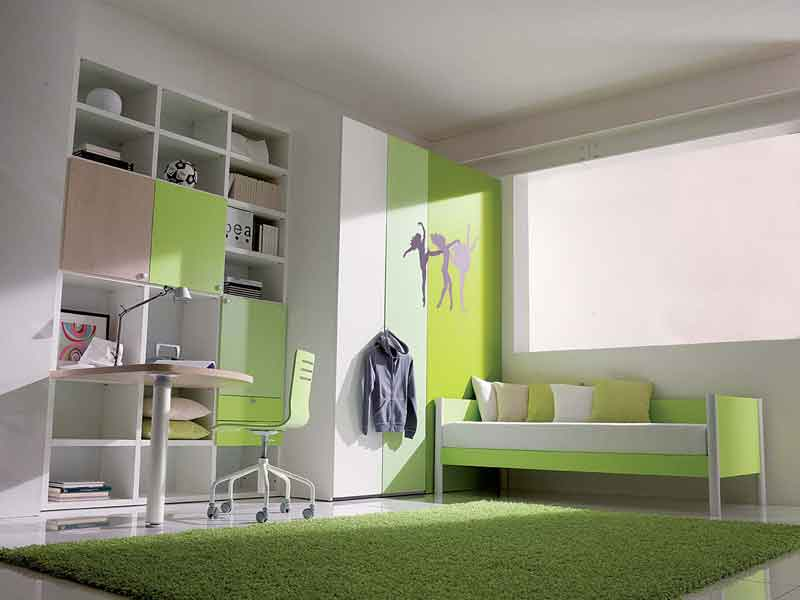 White Green Simple Teenage Girls Bedroom Interior Design Center