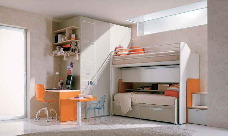 White orange simple teenage girls bedroom interior design center inspiration - Interior designs for simple bedroom of teenegers ...