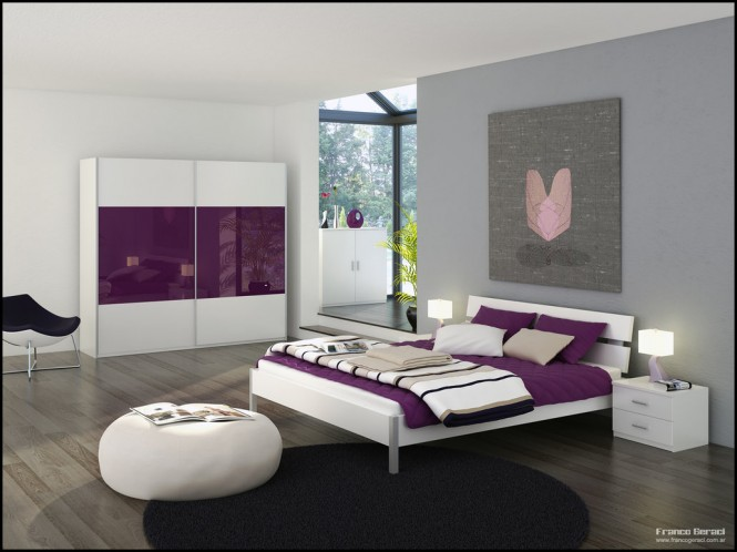 White and Purple Blend Love Bedrooms – Amazing Colorful ... - photo#5