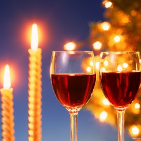 Wine On Christmas With Candles