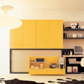 Yellow Fresh Teen Rooms with Small Space