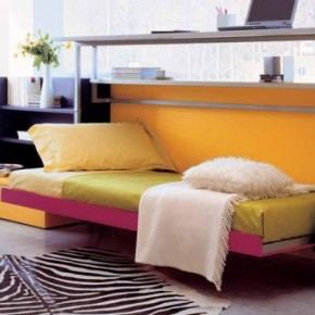 Yellow Furniture Teen Rooms with Small Space