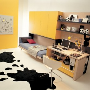 Yellow Teen Rooms with Small Space