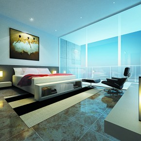 A Living Room With A Glass Panel Window1  Warm and Cozy Rooms Rendered By Yim Lee  Wallpaper 12