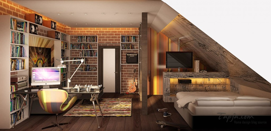 Attic Teenager Bedroom Design Ideas With Sloping Ceiling With Modern Computer Desk Plus Small Library 1024 497 Interior Design Center Inspiration