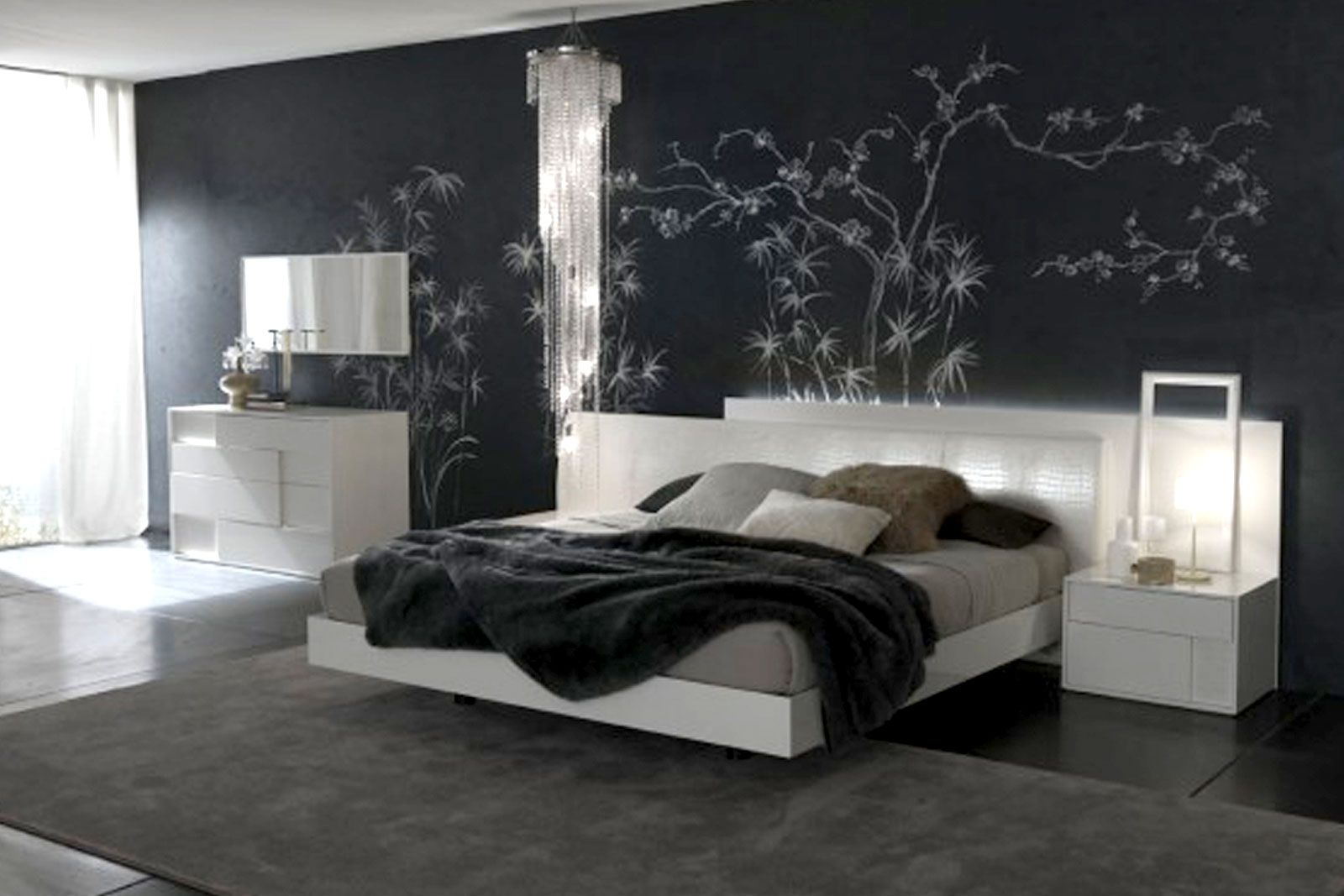 luxurious black grey and silver bedroom with mural decorroom ideas