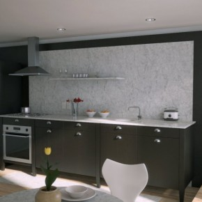 Black Kitchen Marble Splash Back 665x498  Rendered Minimalist Spaces by Rafael Reis Photo  12