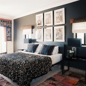 Black wall with pictures