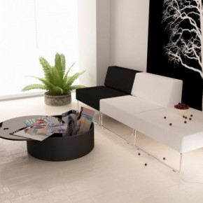 Black White Living Green Accents 665x374  Black & White Interiors  Image  11