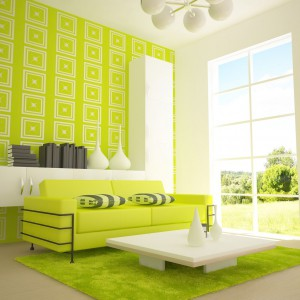 Bright Green Living Room With Nice Walls Sofa And Soft Rug