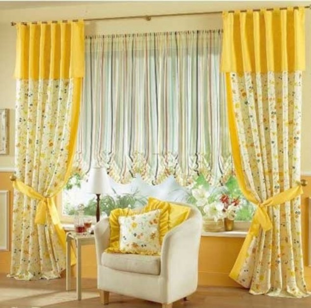 bright yellow and flower curtains | Home Design, Interior ...