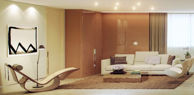 Brown cream living room 665 327 rendered minimalist spaces for Brown and cream living room wallpaper