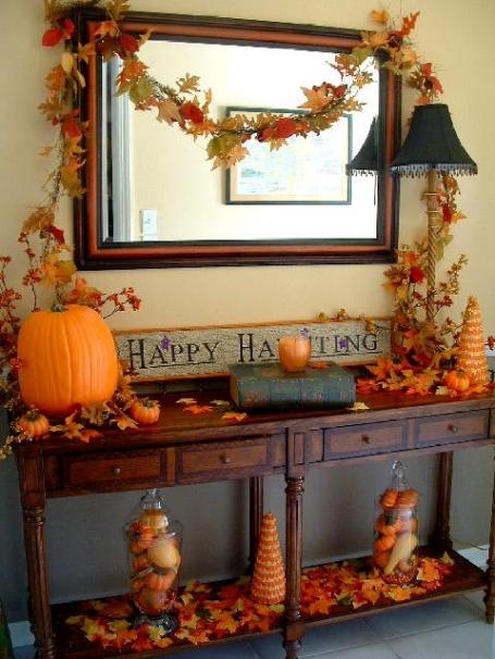 Fall Decorated Desk Interior Design Center Inspiration