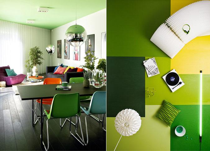 Green interior spaces splashes of colour in white for Green interior design