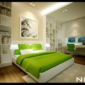 Green White Bedroom 665x503  Dream Home Interiors by Open Design  Pict  28