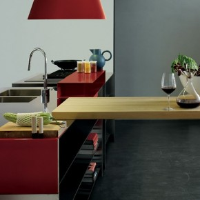 Grey And Red With A Wooden Element  Modern Kitchens From Elmar Cucine  Wallpaper 15