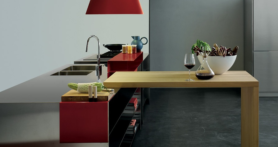Grey and red with a wooden element modern kitchens from for Red grey kitchen ideas