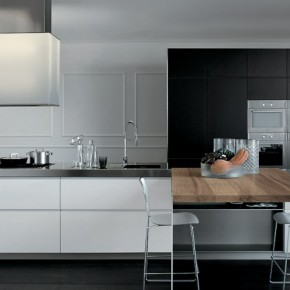 Grey Ans White With A Wooden Element  Modern Kitchens From Elmar Cucine Photo  9