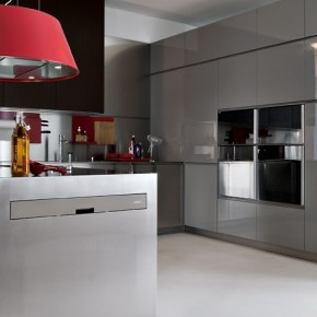 Grey With Red Pops  Modern Kitchens From Elmar Cucine  Image  14