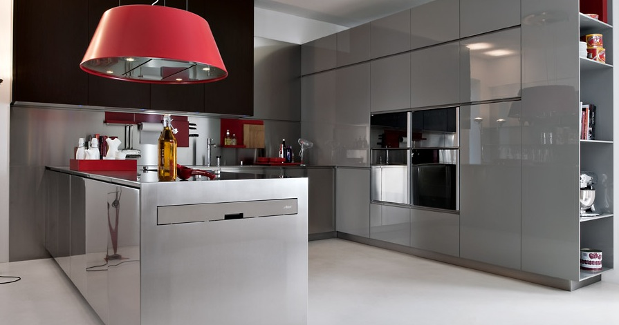grey with red pops modern kitchens from elmar cucine image
