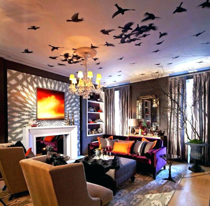 Halloween Room Decoration Ideas Cool Living Room Decor Ideas With Bat Ceiling Art Bedroom Decorating Interior Design Center Inspiration