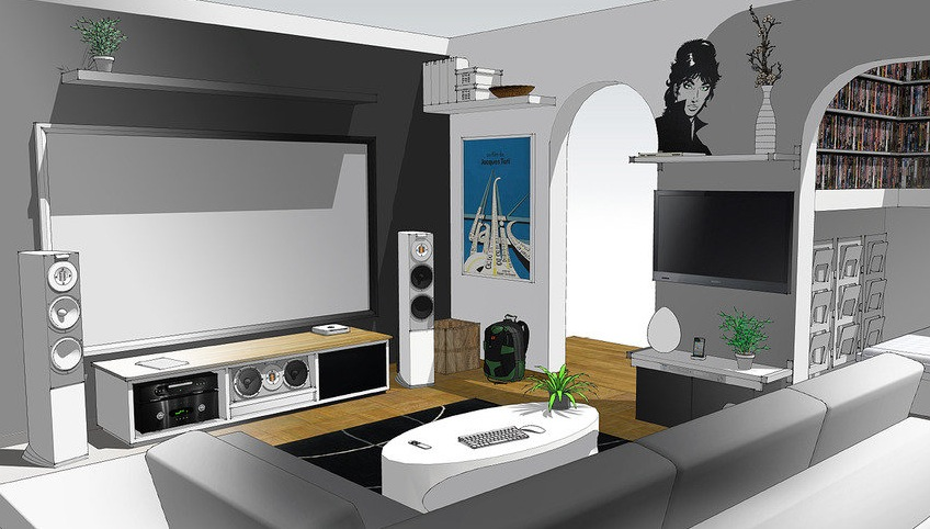 Home entertainment system sketch up a massive home for Home theater setup ideas