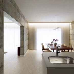 Kitchen Diner Concrete Walls 665x554  Rendered Minimalist Spaces by Rafael Reis  Wallpaper 2