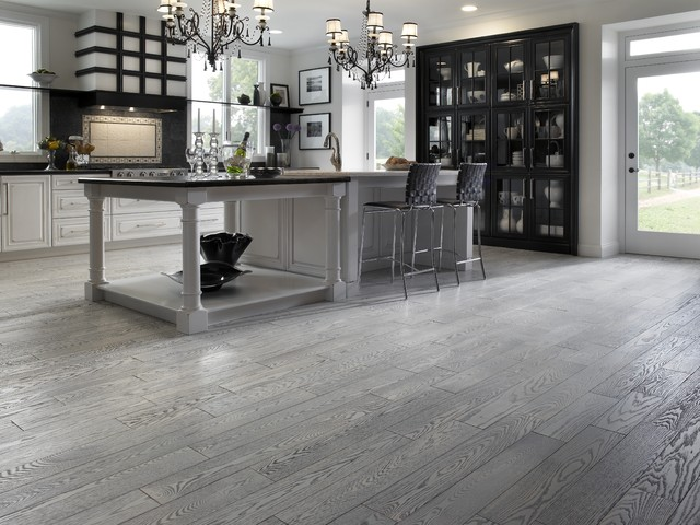 Modern Hardwood Gray Floor Kitchen Designhouzz com