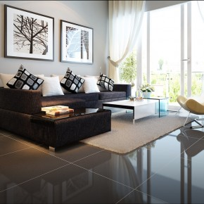 Modern Living Room With A Dark Couch1  Warm and Cozy Rooms Rendered By Yim Lee Photo  1