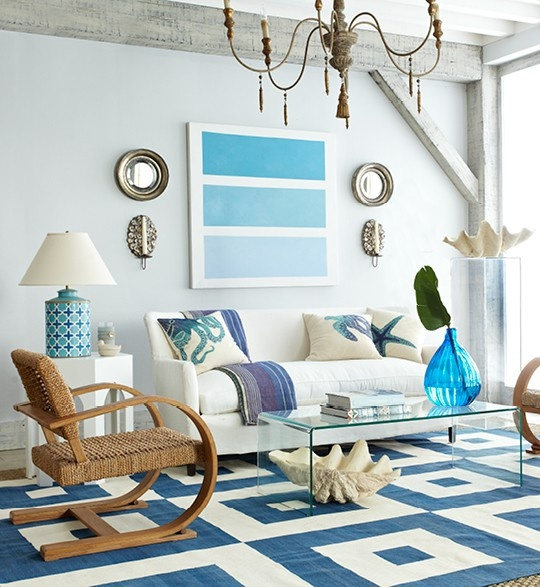 Ocean theme living room ideas mix of blues bloggerluv.com