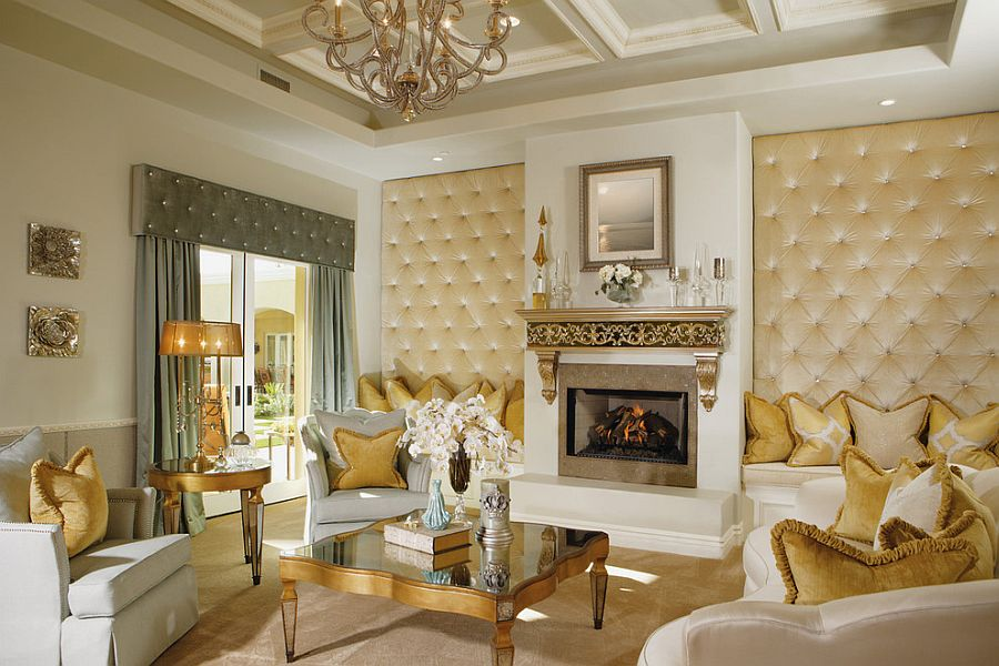 Perfect Ideas Gold Living Room Decor Wall Combination