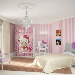Pink Hello Kitty Room 665x498  Poster Print Kids Rooms  Wallpaper 6