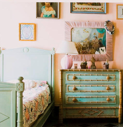 Pretty green and pink interior design center inspiration - Pretty green rooms ...