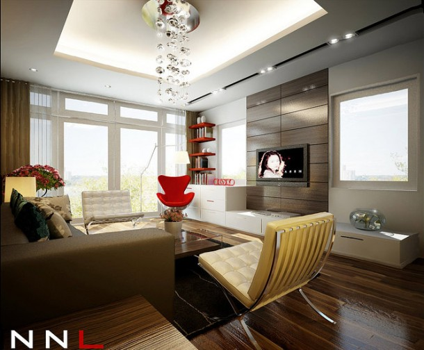 Red brown living room dream home interiors by open design for Red living room wallpaper