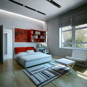 Red White Bedroom  Dream Home Interiors by Open Design  Image  14