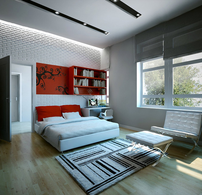 Red white bedroom dream home interiors by open design for Interior design for bedroom red