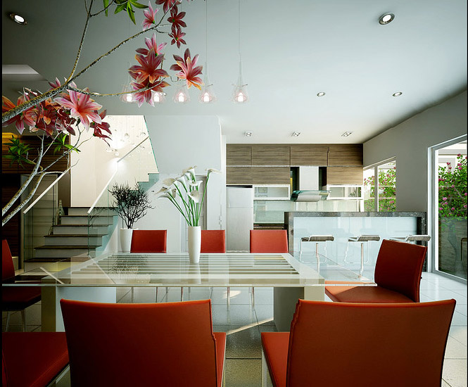 Dream House Furniture Interior Design ~ Red white dining dream home interiors by open design image