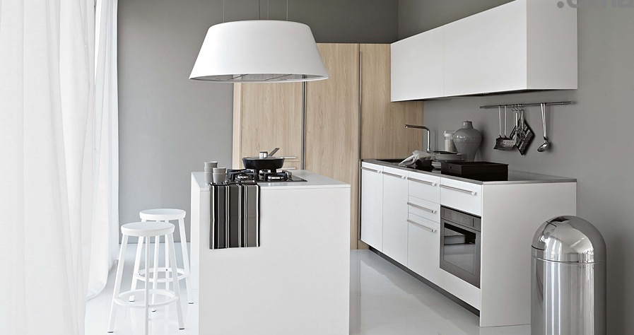 Smaller White Kitchen With Light Wood Elements Modern Kitchens From Elmar Cucine Image 18