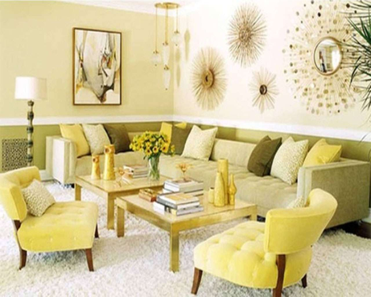New living room paint colors for spring modern house Yellow green living room