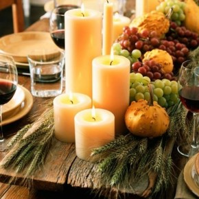 Stunning Thanksgiving centerpiece with candles snappypixels.com