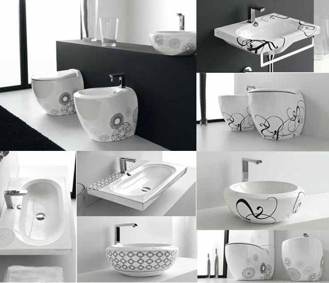 Unique patterned bathroom suite unique bathrooms by for Cool bathroom wallpaper