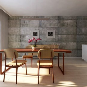 Utilitarian Dining Room Wall 665x554  Rendered Minimalist Spaces by Rafael Reis  Picture  1