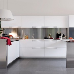 White And Polished Silver Kitchen  Modern Kitchens From Elmar Cucine  Image  10