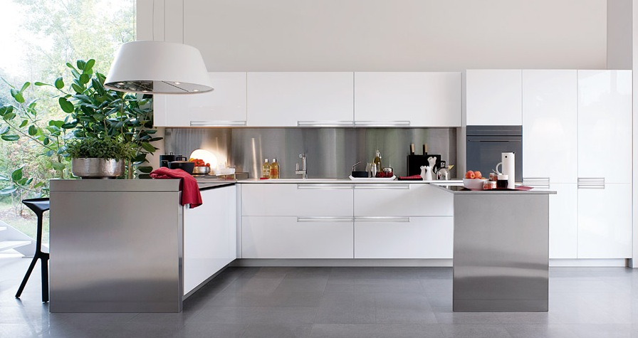 White And Polished Silver Kitchen Modern Kitchens From