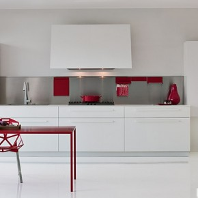 White With Red Pops Of Colour  Modern Kitchens From Elmar Cucine  Image  16