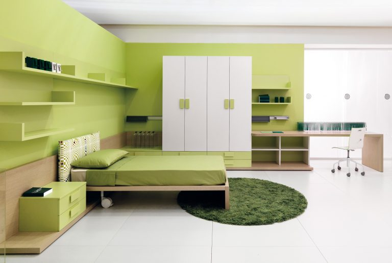 Modern lime green bedroom with green accents and white furniture  homegoid.com
