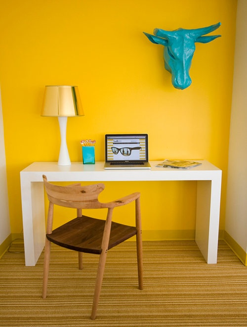 Perfect Vibrant Yellow  Home Offices  Design Ideas  Image  Housetohomeco