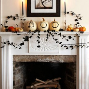 50 Awesome Halloween Decorating Ideas White Fireplace Photo Pumpkins