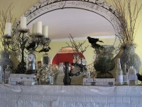 50 Awesome Halloween Decorating Ideas White Fireplace and Crow