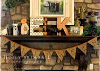 50 Awesome Halloween Decorating Ideas Stone Fireplace with Brown Flag